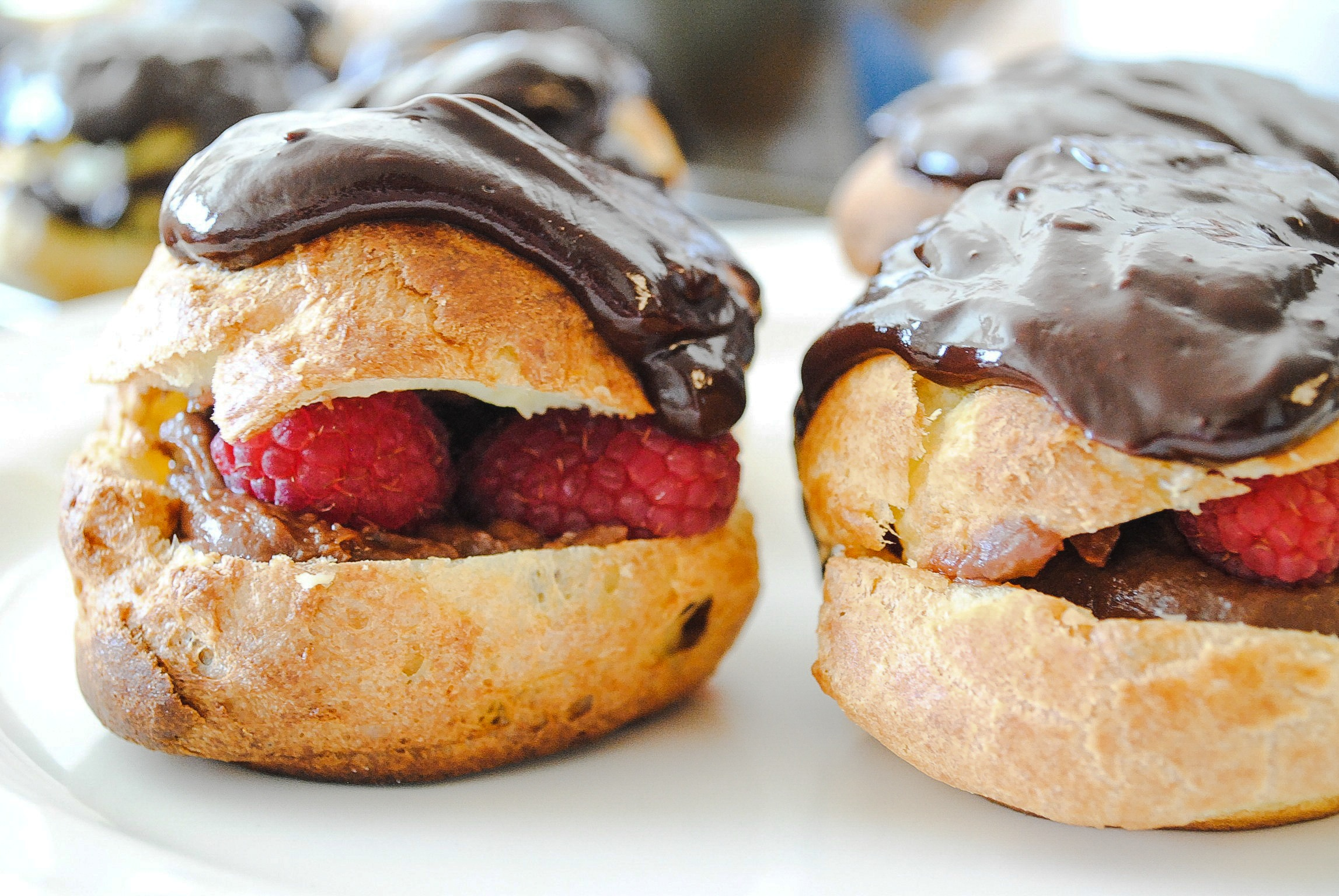 Raspberry Eclairs with Chocolate Pastry Cream | Blessings + Good Food