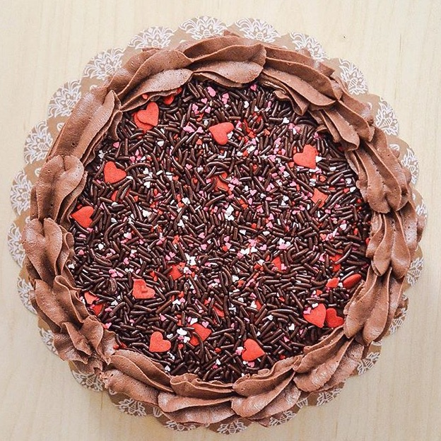 Chocolate lovers cake. This chocolate cake is make with chocolate buttercream and chocolate sprinkles
